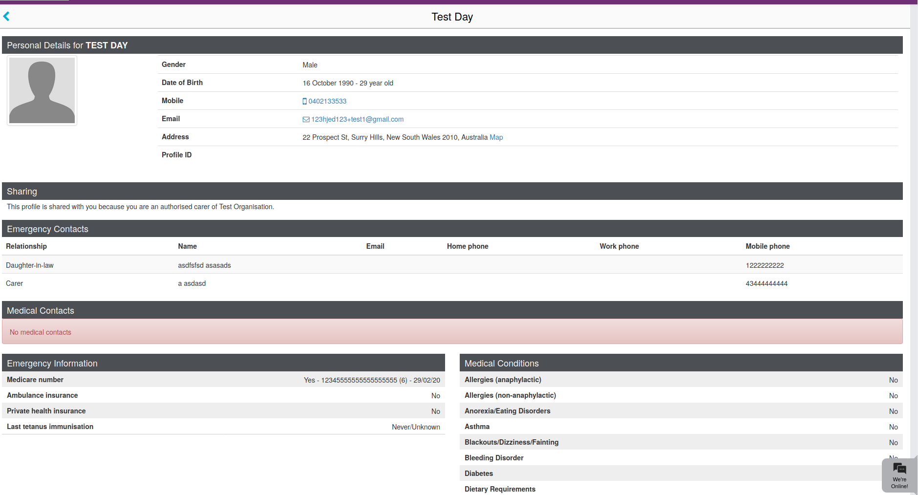 Screenshot of Caremonkey profile