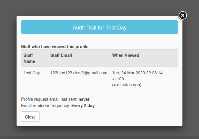 Screenshot of CareMonkey audit trail.