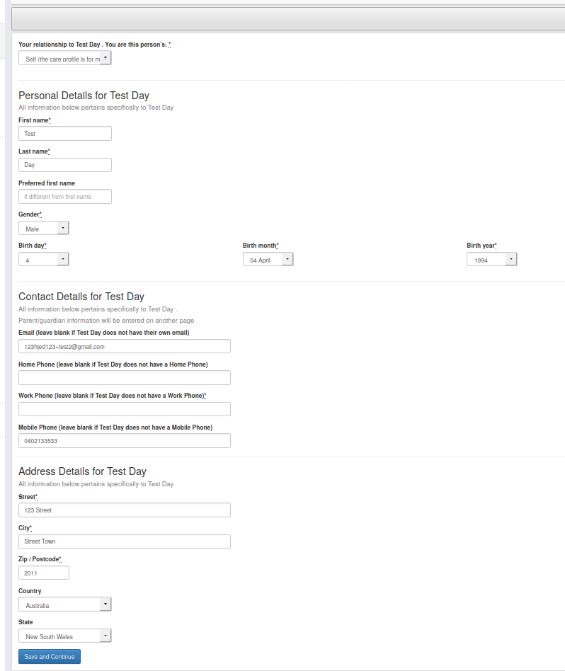 Screenshot of CareMonkey Personal Details Page.