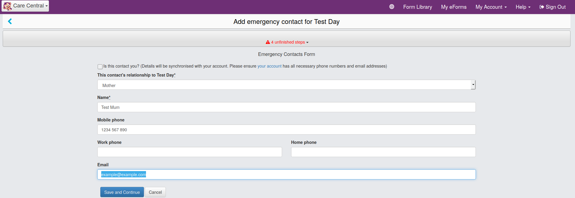 Screenshot of the emergency contact screen in CareMonkey