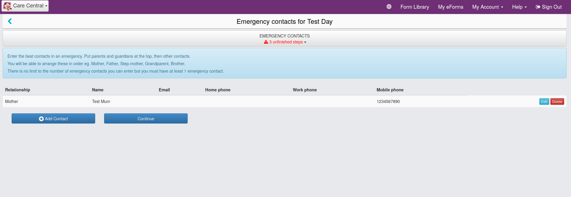 Screenshot of CareMonkey Emergency Contacts Screen