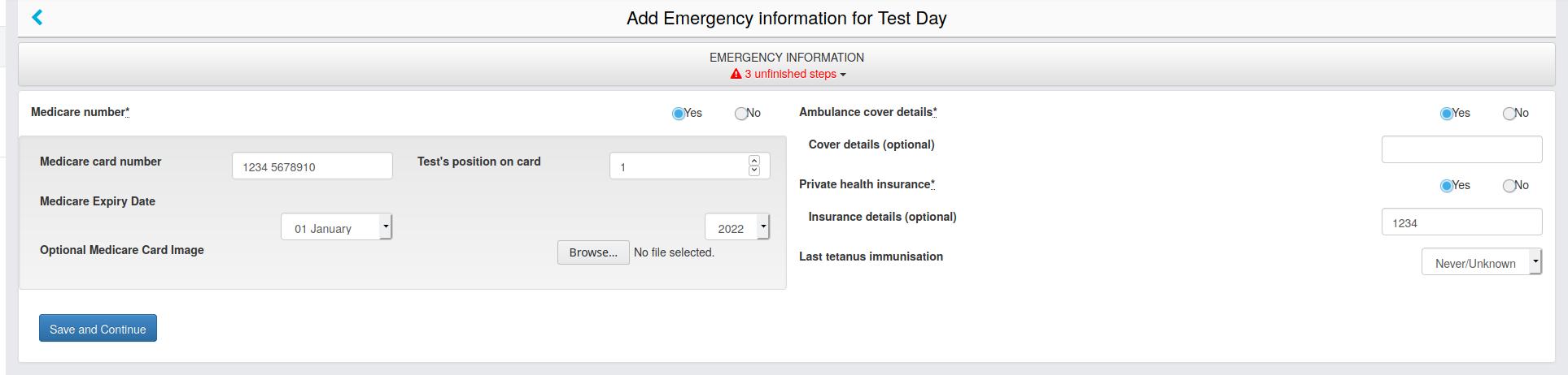 "Screenshot of CareMonkey ""Emergency Information"""
