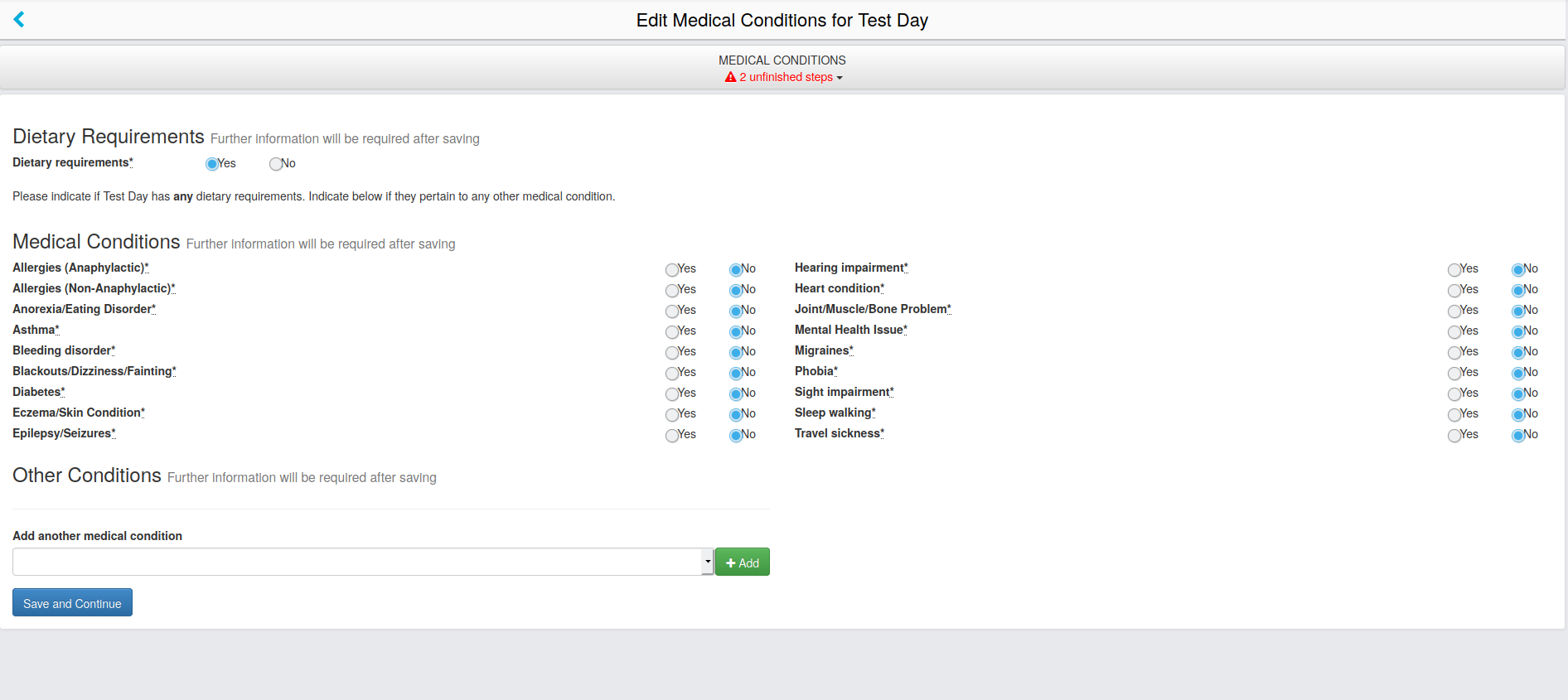 "Screenshot of ""Medical Conditions"" page."