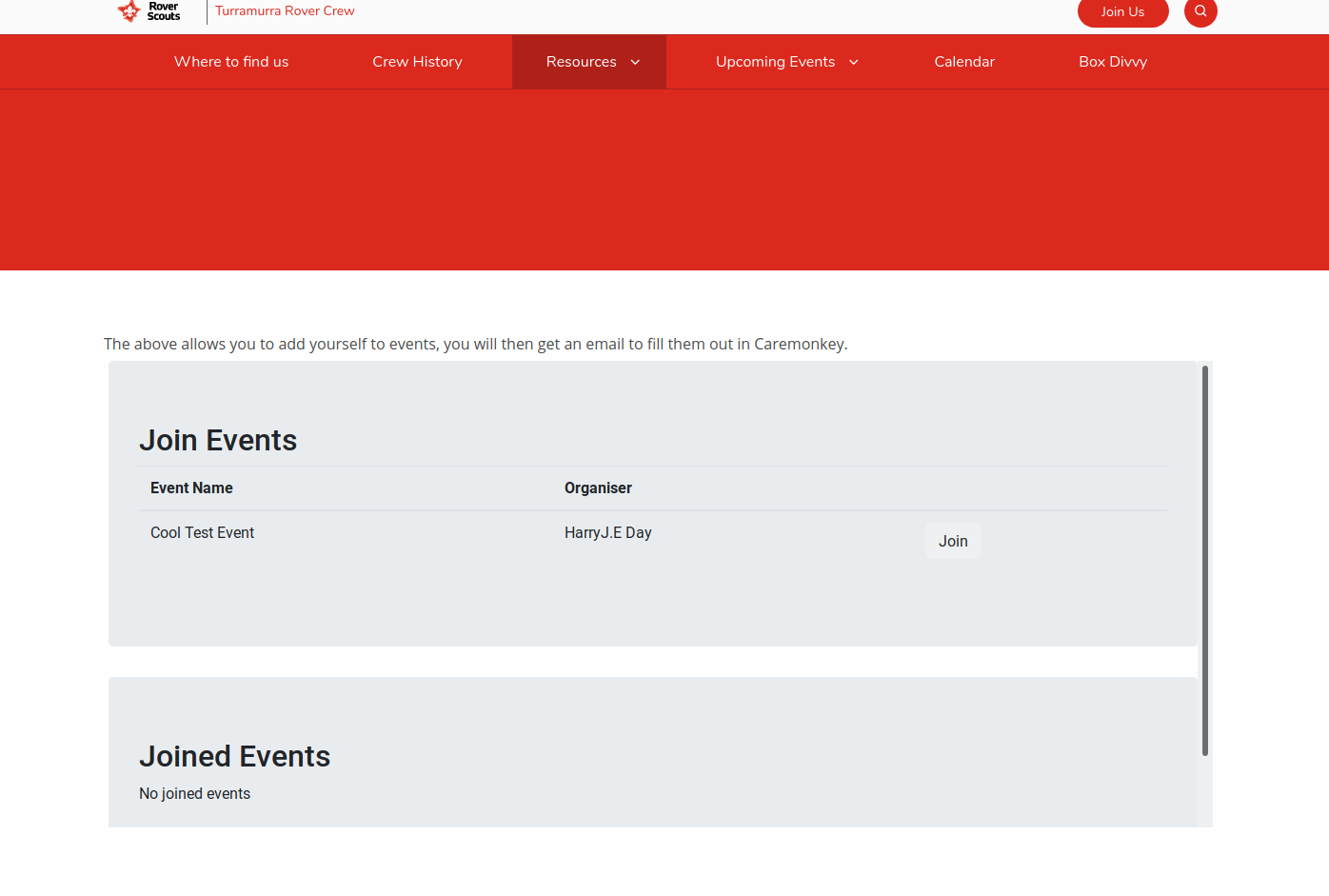 The list of events you can join as a screenshot on the Turramurra website