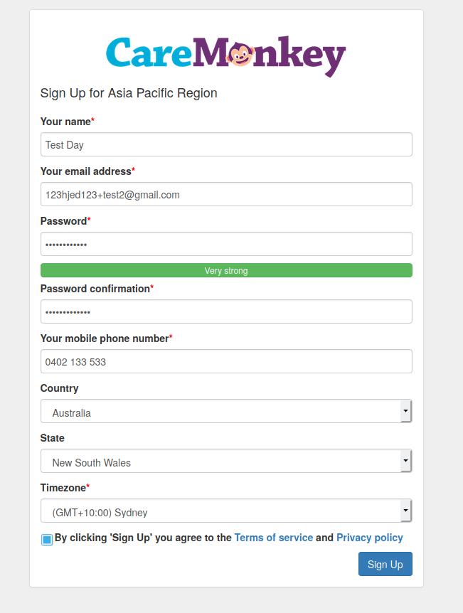 Caremonkey registration form