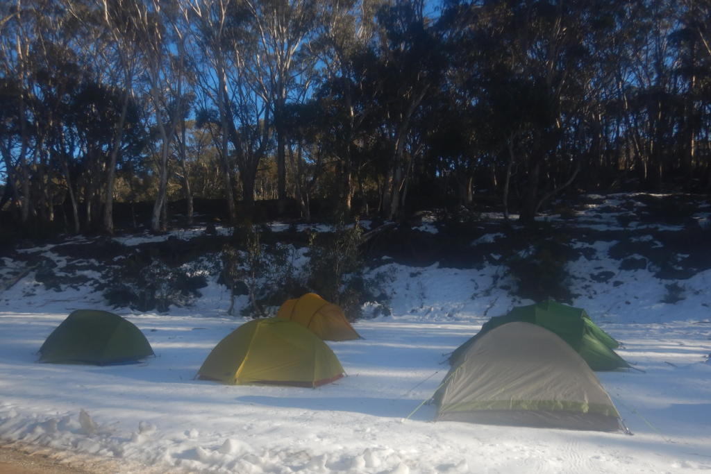 Tents in the snow at Island Bend
